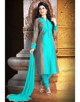 Ethnic Wear Readymade Turquoise Chanderi Silk Salwar Suit - 78088