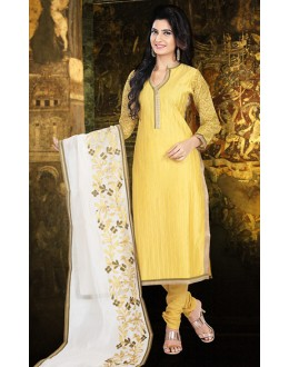 Party Wear Readymade Yellow Chanderi Silk Salwar Suit - 78092