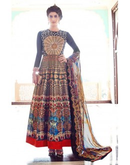 Party Wear Multi-Colour Silk Anarkali Suit  - 78139