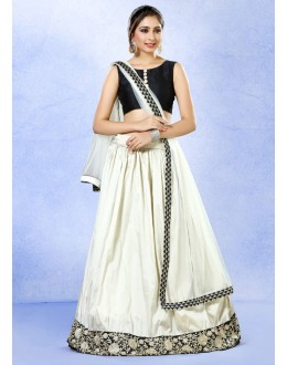 Festival Wear White & Black Silk Lehenga Choli - 78218