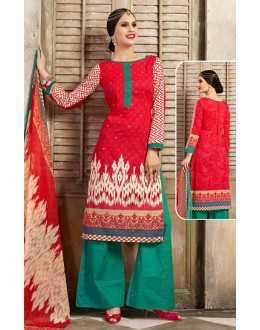 Ethnic Wear Red & Green Cotton Palazzo Suit  - 78258