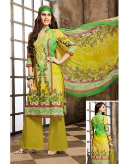 Ethnic Wear Green Cotton Palazzo Suit  - 78263