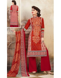 Ethnic Wear Red Cotton Palazzo Suit  - 78269