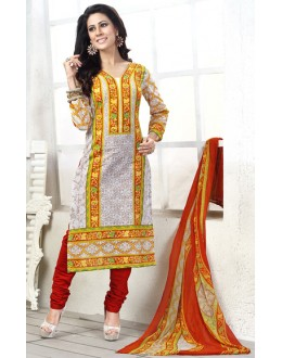 Festival Wear Off White & Red Cotton Salwar Suit  - 78278