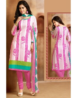 Casual Wear White & Pink Cotton Salwar Suit  - 78284