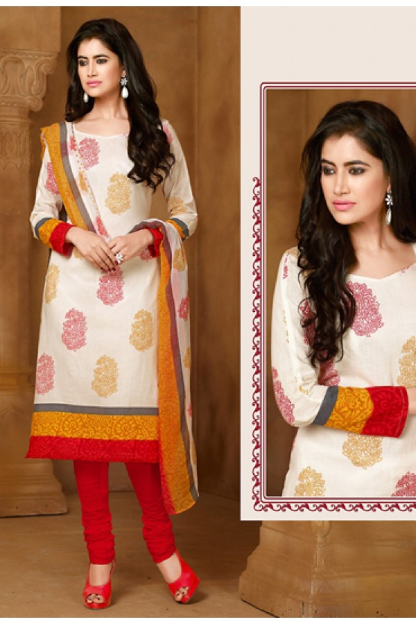 Party Wear Off White & Red Cotton Salwar Suit  - 78285