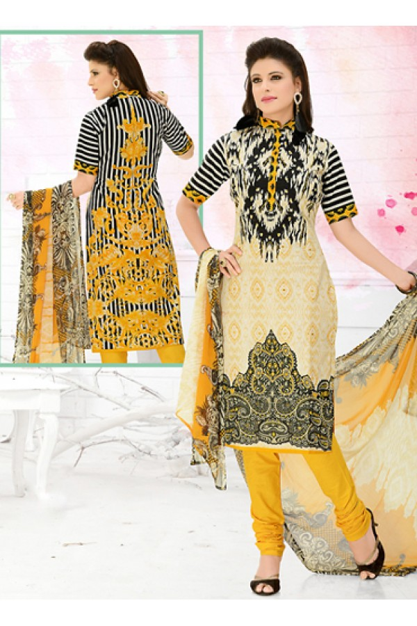 Office Wear Beige & Yellow Cotton Salwar Suit  - 78297