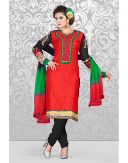 Festival Wear Off White & Red Cotton Salwar Suit  - 78298