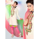 Ethnic Wear Off White & Pink Cotton Salwar Suit  - 78300