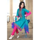 Ethnic Wear Sky Blue & Pink Cotton Salwar Suit  - 78303
