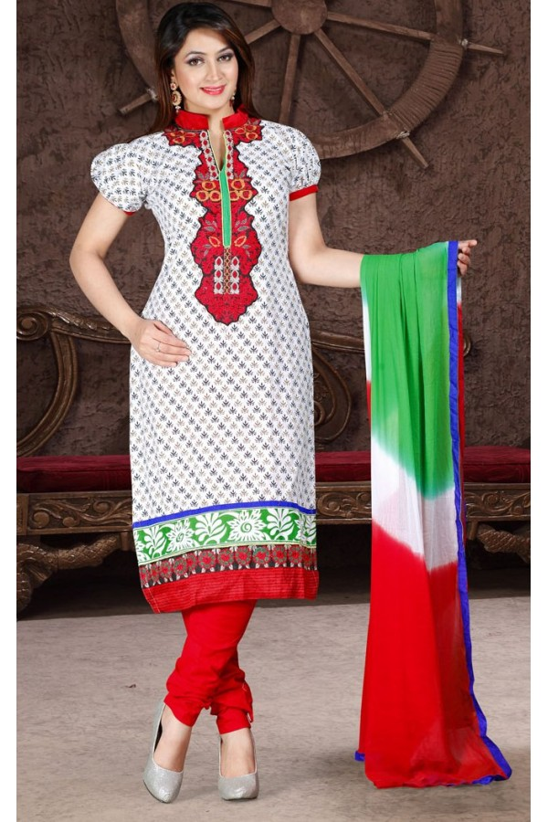 Ethnic Wear White & Red Cotton Salwar Suit  - 78305