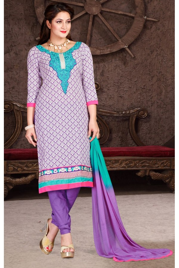 Casual Wear White & Purple Cotton Salwar Suit  - 78310
