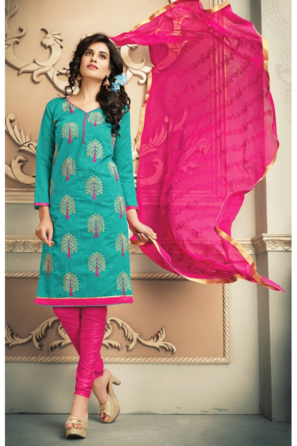 Festival Wear Green & Pink Chanderi Silk Salwar Suit  - 78317