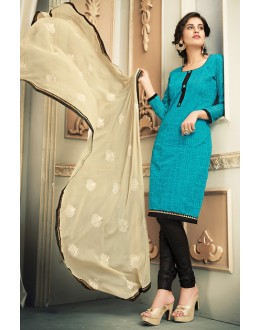 Casual Wear Turquoise & Black Chanderi Silk Salwar Suit  - 78318