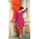 Office Wear Pink & Orange Chanderi Silk Salwar Suit  - 78321