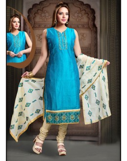 Office Wear Readymade Sky Blue Art Silk Salwar Suit - 78352