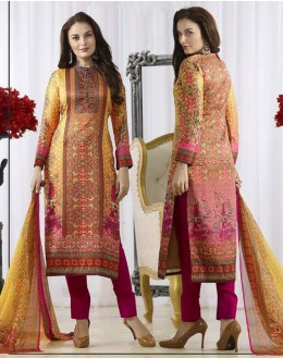 Ethnic Wear Yellow & Pink Pasmina Silk Salwar Suit  - 78383