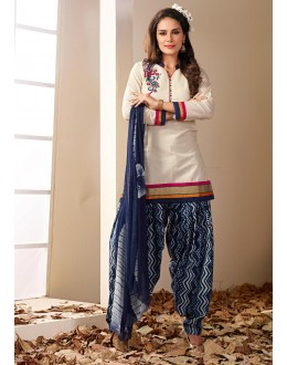 Office Wear Readymade Off White Patiyala Suit - 79791