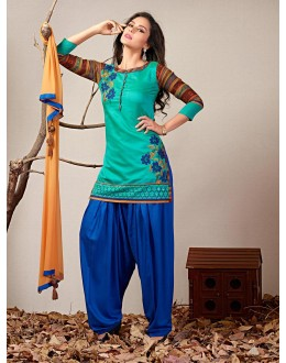 Festival Wear Readymade Turquoise Patiyala Suit - 79793