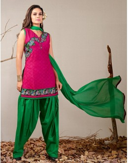 Festival Wear Readymade Pink Patiyala Suit - 79795