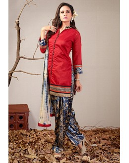 Ethnic Wear Readymade Red Patiyala Suit - 79797