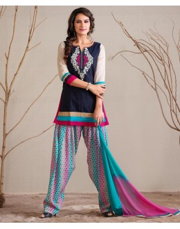 Office Wear Readymade Blue Patiyala Suit - 79799