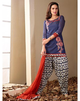 Ethnic Wear Readymade Blue Patiyala Suit - 79803