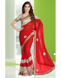 Ethnic Wear Red Georgette Embroidery Saree  - 78679