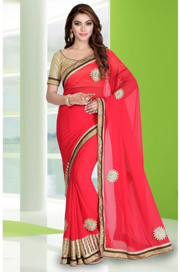 Festival Wear Pink Georgette Embroidery Saree  - 78680