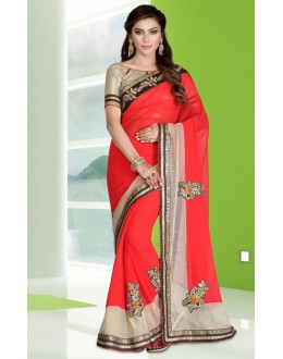 Ethnic Wear Red Georgette Embroidery Saree  - 78685