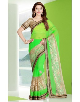 Ethnic Wear Green Georgette Embroidery Saree  - 78688