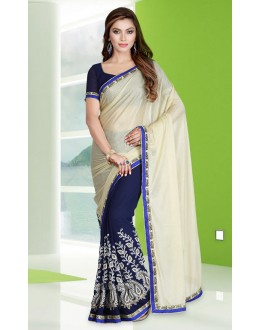 Ethnic Wear Blue Georgette Embroidery Saree  - 78690