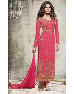 Priyanka Chopra In Pink Georgette Salwar Suit  - 78768