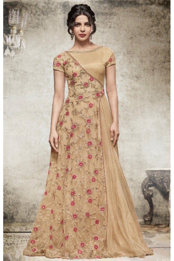 Priyanka Chopra In Brown & Pink Net Gown - 78770