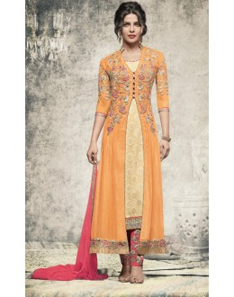 Priyanka Chopra In Orange Georgette Salwar Suit  - 78772