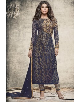 Priyanka Chopra In Blue Georgette Salwar Suit  - 78773