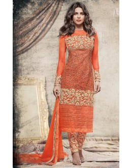 Priyanka Chopra In Orange Net Salwar Suit  - 78774