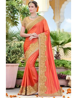 Wedding Wear Orange Raw Silk Saree  - 78894