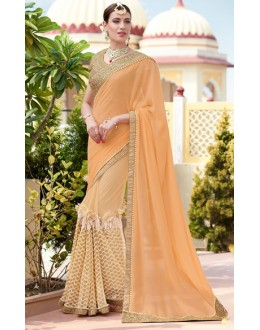 Ethnic Wear Orange Georgette Saree  - 78897