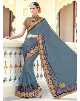 Party Wear Grey Chiffon Embroidery Saree  - 78899
