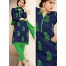 Festival Wear Blue & Green Cotton Salwar Suit  - 78928