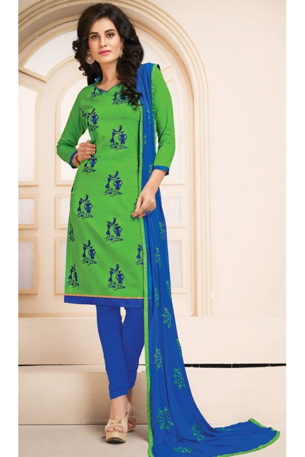 Office Wear Green Cotton Salwar Suit  - 78930