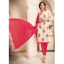 Festival Wear Off White & Pink Cotton Salwar Suit  - 78934