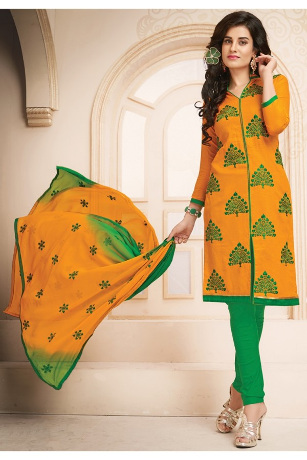 Ethnic Wear Green & Yellow Cotton Salwar Suit  - 78936