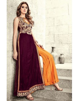 Festival Wear Maroon & Orange Velvet Palazzo Suit  - 78940