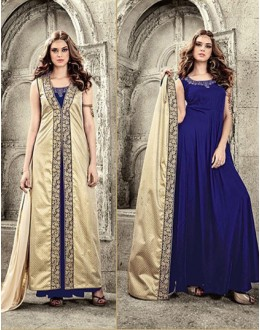 Wedding Wear Brown & Blue Velvet Salwar Suit  - 78942