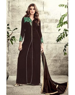 Ethnic Wear Brown Velvet Slit Salwar Suit  - 78943