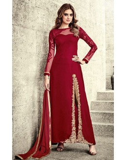 Party Wear Red Velvet Embroidery Slit Salwar Suit  - 78944