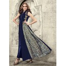 Ethnic Wear Navy Blue Velvet Slit Salwar Suit  - 78946
