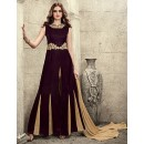 Festival Wear Maroon & Brown Velvet Slit Salwar Suit  - 78947